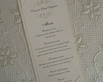 Ribbon Wedding Menu, Silver Wedding Menu, Silver Menu, Ribbon Wedding Menus, Silver Wedding Menus, Silver Menus, Silver Ribbon Wedding Menu