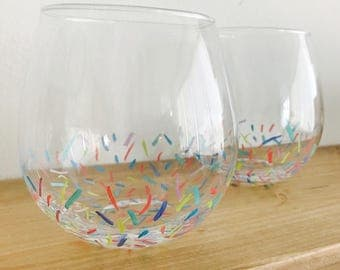 Confetti Hand Painted Red Wine Glasses