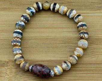 Faceted Brown & White Dzi Fire Agate Yoga Jewelry Bracelet with Granite | 8mm | Yoga Jewelry | Meditation Bracelet | Free Shipping