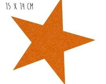 Star pattern fusible thin 15 x 14 cm orange Velvet