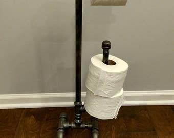 black iron free standing toilet paper holder