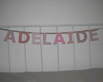 Lettres tissu pour guirlande pr nom mod le 6 lettres marius - Adelaide prenom ...