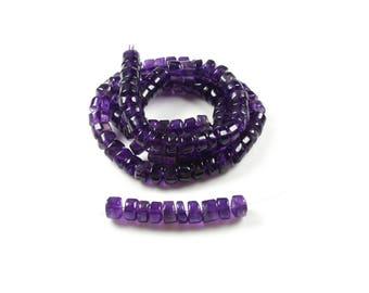 20 Rondelle irregular beads in Amethyst natural +/-5mm x 2-4mm LBP00583