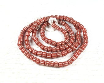 10 of Java glass beads recycled red streaked +/-4 to 6mm