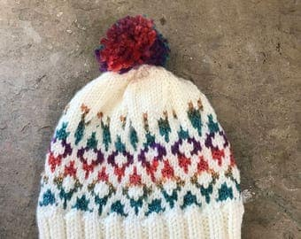 Rainbow colorwork winter hat youth med/lg