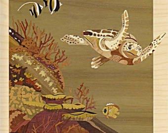 Sea turtle inlay