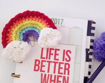 Rainbow Crochet Planner Clip, book mark, page clip, planner accessories for Filofax, Websters and Kikki K