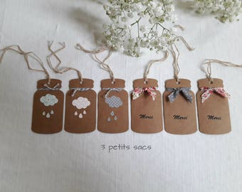 6 kraft tags, jar, clouds and raindrops silhouette, fabric cotton, Vintage