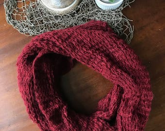 Maroon Knit Infinity Scarf