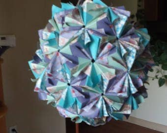 "Pastel kusudama; 120-unit ""Curly"" Sonobe; First Anniversary gift; conversation piece"