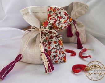 Lavender, mint, pine, red and gray sachet aroma bag of natural fabric, linen, fragrant sachet, handmade, bag with herbs, gift bag, eco