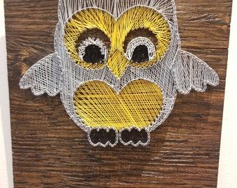String art, unique Christmas gift, owl, yellow, home decor, luxury home decor, pine wood art,wood art,unique, TKMavi art, wall hanging