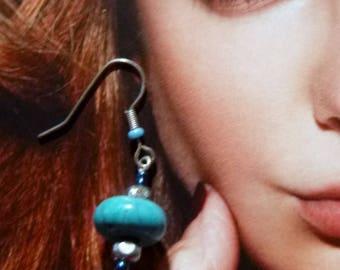 BOTC 02 rock crystal and turquoise earrings