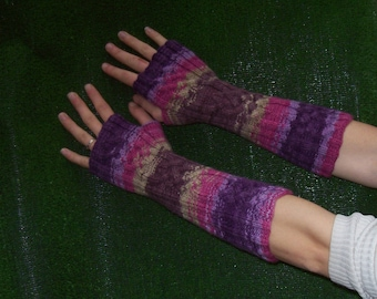 cable knitted mittens wool with pattern