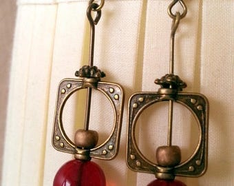 Earrings bronze and Red bead