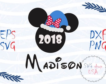 New Year Minnie Mouse Head with Your Name Svg Dxf Png Eps cut files for Cutting Machines Cameo or Cricut