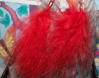Earrings red feathers