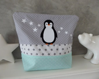 Personalized Penguin fabric gray, white and Mint Kit