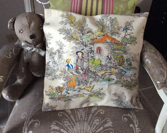 French toile de jouy colorized handmade pillow cover