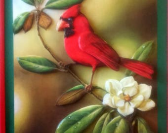 Picture 3 D Red Bird on Camellia flower