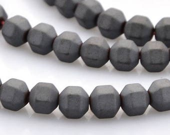 Set of 50 beads hematite, frosted, faceted, black, 4 x 4 mm, hole 0.7 mm