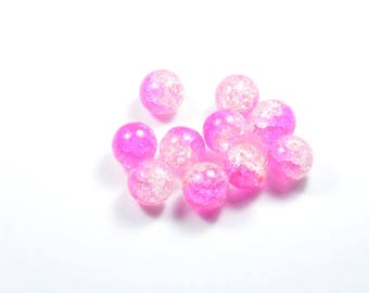 PE368 - Set of 10 Crackle glass beads pink 12mm