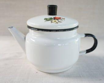 Soviet vintage enameled kettle Retro cottage Coffee pot Old Soviet tea pot Milk pot Authentic vintage Farmhouse Soviet cottage Coffee kettle