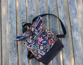 Canvas Backpack/ Rucksack floral print black flowers