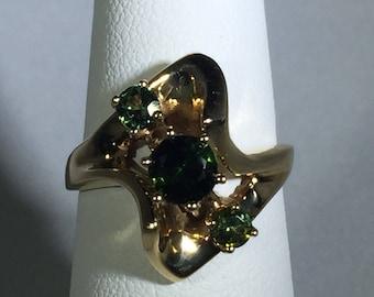Vintage green tourmaline ring