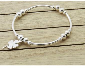 Sterling Silver Noodle Bead Charm Bracelet, Lucky Four Leaf Clover Bracelet, Silver Stretch Bead Bracelet, Stacking Bracelet, Silver Clover