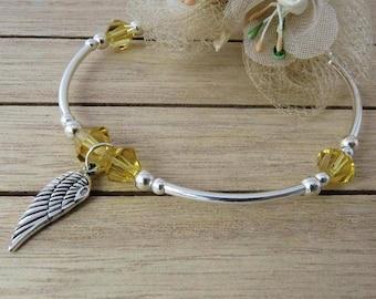 Topaz Birthstone Jewelry, Angel Wing Silver Bracelet, Sterling Silver Crystal Bracelet, Wing Charm Bracelet, Bridesmaid Bracelet, Gifts