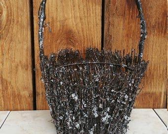 Glitter Sliver and Black Basket with Handle
