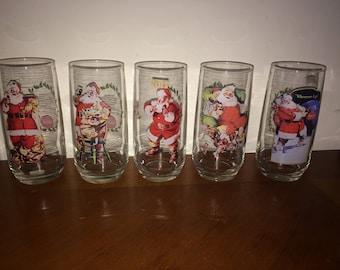 Coke Coca-Cola Santa Drinking Glasses