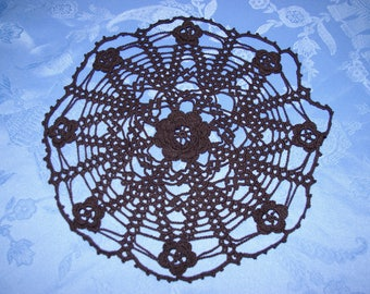 decorated with flowers crochet black doily