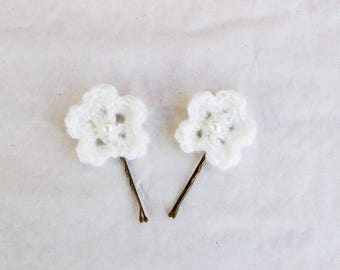 Hairpins (set of 2) white ceremony for child