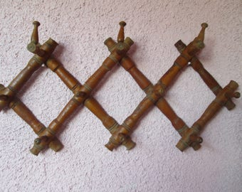 Wooden hanger, Vintage hanger, Accordion wooden hanger, Clothes wall hanger, Antique folding hanger, Old Wall Coat Rack, Rustic home decor