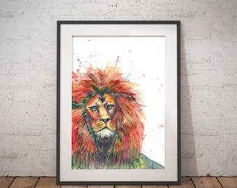 Lion art print watercolor painting, hand-signed