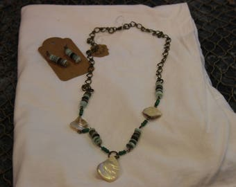 Shell, Bead and Chain Set..  Necklace and Earrings. 2 piece set