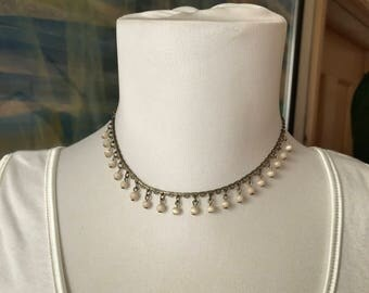 Beaded choker, pearl choker, 90s necklace, 1990s necklace, 90s choker, beaded necklace,