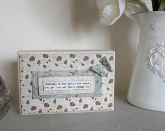 Vintage Style Sentiments Plaque, Decoupaged Wooden Block with Glitter Butterfly Shelf Sitter