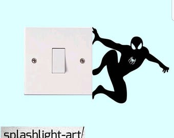 2x 10cm Spiderman light switch vinyl sticker Decal. Marvel superhero wall vinyl