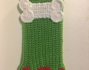Crocheted pet christmas stocking