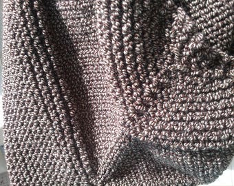 Shawl knitted by hand in Brown Heather