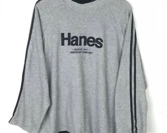 Rare!!! Vintage!!! Hanes Sweatshirt Pullover Spellout Embroidery Stripes Jumper