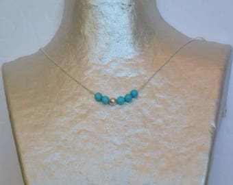 Turquoise beads on silver chain necklace