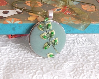 Green beaded and embroidered necklace, add an organza necklace, bridesmaid gifts