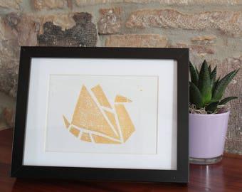 A5 linocut decoration - Origami bird - gold