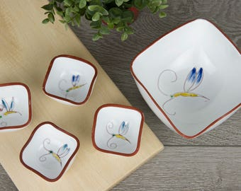 Peanut set of white earthenware with butterflies