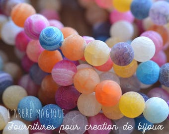 10 beads of Agate multicolor Crackle effect 8 mm size