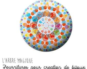 Cabochon fancy 25 mm mantra mandala multicolour ref 909